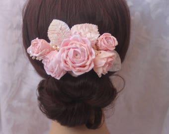 Wedding Hair Accessory Blush Pink  Ivory Ribbonwork RosesWith Velvet Leaves, Swarovski Crystals. Crystal Pearls