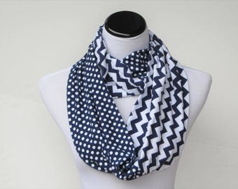 Infinity scarf navy blue white polka dots and chevron stripes scarf - circle loop scarf gift idea for her - gift for mom gift for girl