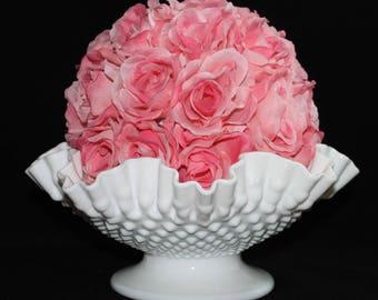 Fenton Hobnail Milk Glass Bowl*  Double Crimped Ruffled Rim * Large White Vintage Compote * Wedding Bridal Centerpiece