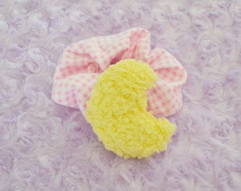 Fluffy Moon Pink Gingham Scrunchie