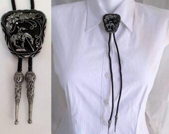 Vintage Bolo Tie, Pewter End of the Trail, Bola w Black Cord, Southwestern Necktie, Boho Country Western Wear, Cowboy Cowgirl, ID 517666220