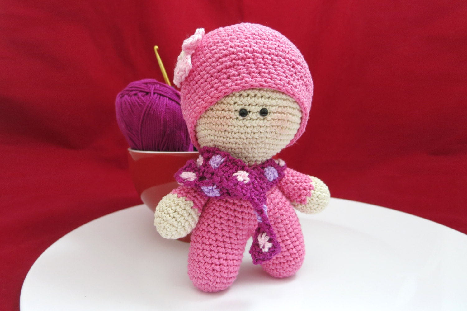 Big Head Baby Doll Pink Doll Crochet Doll Christmas Gift