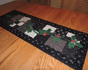 "Quilted Scrappy Table Runner in all Blacks and Creams or Tans  with Appliqued Holly and Berries   36"" x 12"""