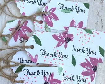 10 Pretty Floral Stamped 'Thank you' Gift Cards Gift Tags with Twine