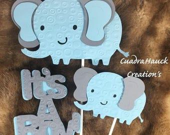 Elephant baby shower/ Elephant theme/ Elephant baby shower/ Light blue and Gray elephant