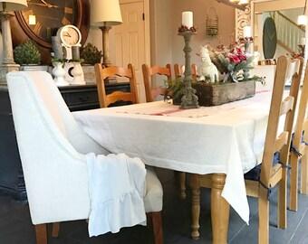 Cream Linen Table Cloth French Table Linens Shabby Chic Custom Wedding Linen Table Cover Belgian Linen