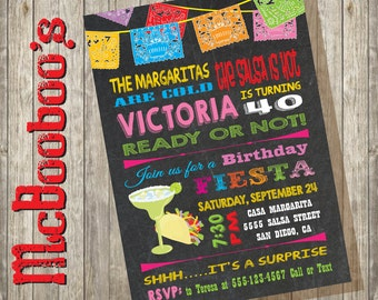 Mexican Birthday Fiesta Invitation Surprise Tacos and Tequila with banners