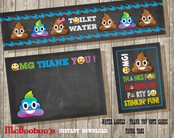 Emoji Poop Thank you note cards/ Favor tags & Water labels/ INSTANT DOWNLOAD/all on a chalkboard background jpegs