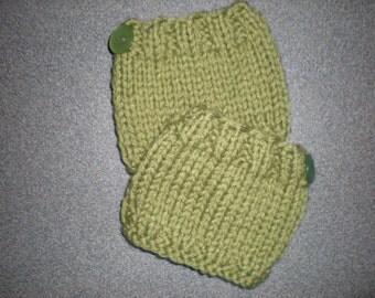 Handknit Boot Cuffs, Girl's Knit Boot Cuffs, Girl's Green Knit Boot Cuffs