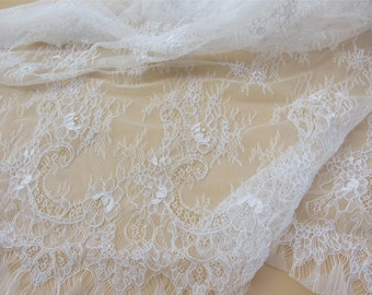 Chantilly corded Lace, off white Lace Fabric, 59 inches Wide for Veil, Dress, Costume, Craft Making, 3 yards/piece