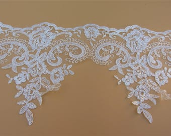 Alencon Lace,Bridal Veil Lace Trim Wedding Lace ivory by yard