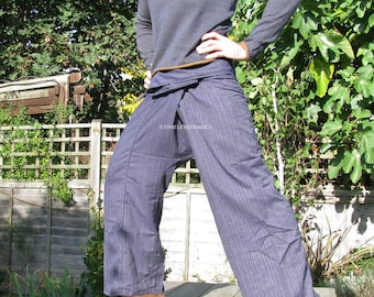 Thai Fisherman Pants 100% cotton  classic pinstripe pattern with side pocket (Western Size)
