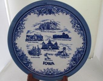 Blue on White Iowa Souvenir Plate State Plate Souvenir plate Hawkeye state Iowa plate Tall Corn State Iowa state plate Little Brown Church