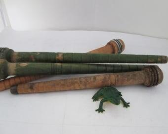 Lot of 4 Medium Size Wood Spools Wood Spindle Textile tool Vintage Sewing Tool Industrial Textile Tool Antique Wood Bobbin Industrial spool
