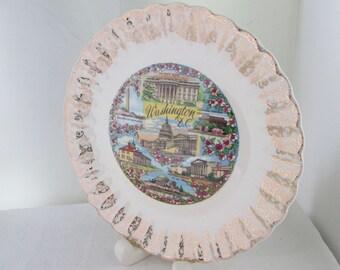 Washington D.C. Souvenir Plate with Cherry Blossoms Washington Souvenir State Plate Washington Plate White House Lincoln Memorial Mt Vernon