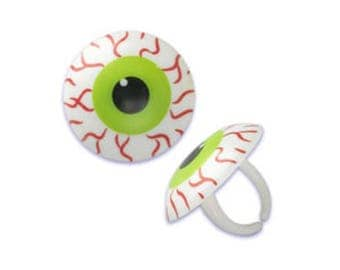 12 Bloodshot Eyes Eyeball Cupcake Rings Halloween Toppers Party Favors