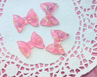 Pink Glitter Resin Bow Cabochons - 36x27mm Star pastel glitter bow