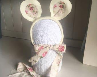 MinnieMousie, newborn size, yellow/rose photo prop, uk seller