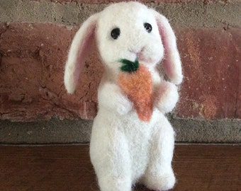Dinner Time Bunny, a cute white needlefelted rabbit, soft sculpture, room decor
