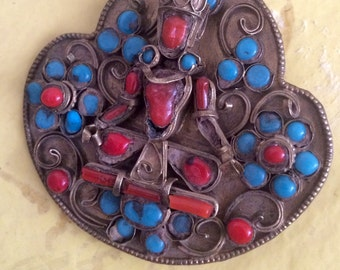 Antique Tibetan Coral and Turquoise , Beautifully Made Brooch.