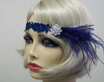 Navy 1920s headband, Flapper headpiece, Feather headband, Great Gatsby, New Years Eve, Roaring 20s dress, Gatsby headband, 1920s Event