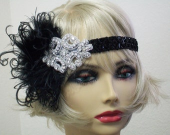 Black 1920s headpiece, Flapper headband, Great Gatsby headband, 1920s headband, 1920s hair accessory, Feather headband, Vintage inspired