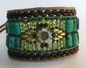 EMERALD ISLE, Beaded Cuff, Semi Precious Stone Jewelry, Cuff Bracelet, Beaded Bracelet, Twinkling Of An Eye, Chrysocolla Jewelry, Boutique