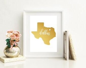 Texas Gold Foil Print Wall Decor // Dallas // Houston // Austin