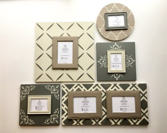 cedar ash collection 5 piece gallery wall frame set unique magnetic picture frames custom painted photo frames neutral wall decor