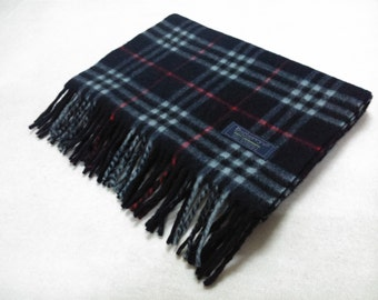 Vintage Burberrys of London Extra Long Lambswool Scarf Checks Pattern Navy Blue Neck Wrap Muffler Made In England B07