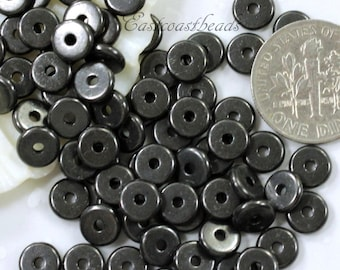 20 or More, Heishi Coin Disk Beads, TierraCast, 6 mm, Spacers Beads, 6mm, Accent Beads, Antiqued Black Pewter, 20 or More Pieces, 4213