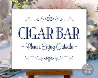Cigar Bar Printable Wedding Sign, Navy Blue, Party Sign, Choose Your Size (#CIG1N)
