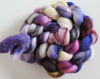 Polwarth-Silk,Lady Violet, top,handpainted dyed, roving for spinning and felting