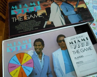 Best MIAMI VICE BOARD Game, Never Played, Don Johnson Classic 1984 T.V. Hit Series, Hot Crime, 80's Detective Series, White Linen Pants
