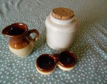 Crockery Collection, Ready to use as Decor Crockery, Mustard Pot Crock, Salt Cellar Crockery, Syrup Pitcher, 9th Anniversary Pottery!!!