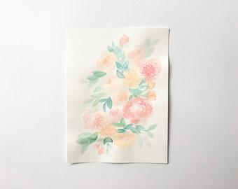 Original Watercolour Painting - Still Life Bunch of Flowers
