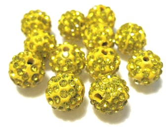 10pcs Yellow Polymer Clay Rhinestone Beads Pave Disco Ball Beads 10mm - Grade AAA