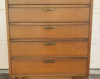 SOLD To Nija-Vintage Mid-Century Walnut Highboy Dresser ,Ready To Paint
