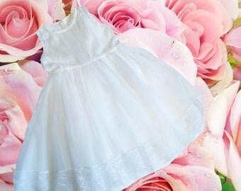 Heirloom Girls Dress, Soft Victorian White Tulle Dress, White Flower girl dress, tutu dress, bridesmaid dress, princess dress, tulle dress