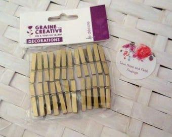 LOTTO 24 mini clothespins gold