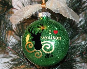 I Love Venison Ornament, Hunting Christmas Ornament, Deer Silhouette Glass Ornament Gift