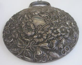 A Silver Hand Held Mirror Blooming Repousse Signed Floral Chasing