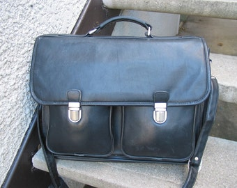 Vintage Black Leather Briefcase