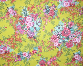 Fabric - Rico - Lime based bright floral - woven cotton