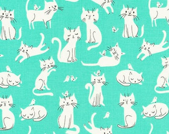 Fabric - Robert Kaufman - Whiskers and tails mint cat cotton print - woven cotton