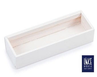 """Long White Wood Box with Clear Lid 3.5"""" x .8"""" Wooden Pencil Box. Long Wood Specialty Box."""
