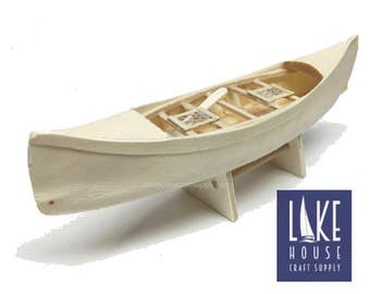 "7"" Bare Wood Canoe Boat. Small Unfinished Wooden Boat Canoe. Wood Kayak. Wood Boat."