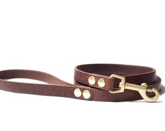 Personalized Vegetable Tanned Leather Dog Leash - Dark Brown