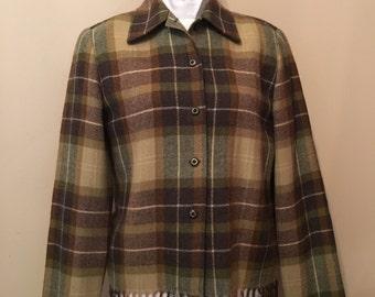 Wool fringe blazer - brown and green plaid vintage jacket - equestrian style blazer - fringe blazer vintage Carlisle ladies jacket