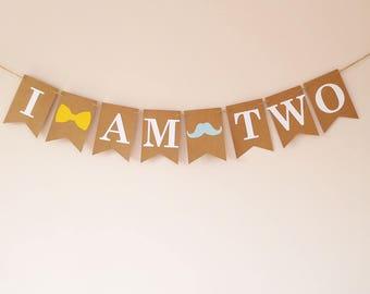 Custom age, Moustache, bow tie party,  Baby boy 2nd birthday I am two bunting banner, twodles